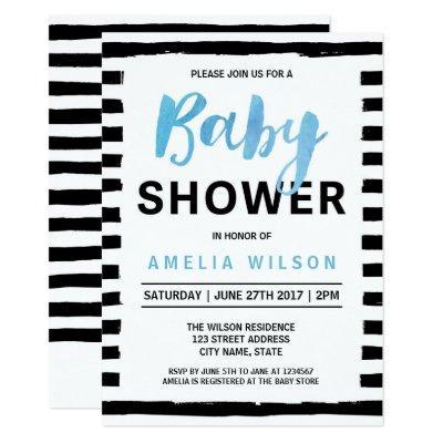 Chic Black Stripes Blue Baby Shower Invitations