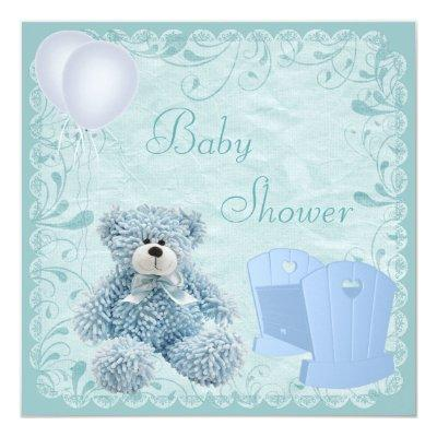 Chic Blue Teddy & Crib Baby Boy Shower Invitation