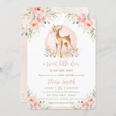 Chic Blush Floral Baby Deer Fawn Girl Baby Shower Invitation