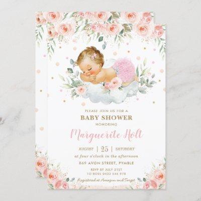 Chic Blush Floral Sweet Sleeping Baby Girl Shower Invitation