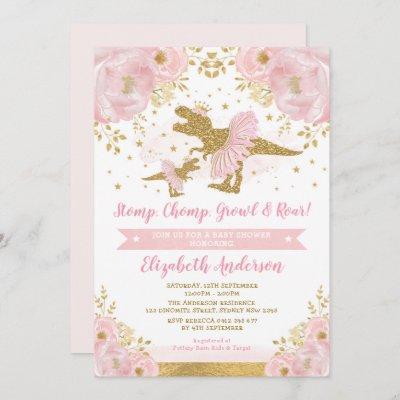 Chic Blush Gold Floral Dinosaur Girl Baby Shower Invitation