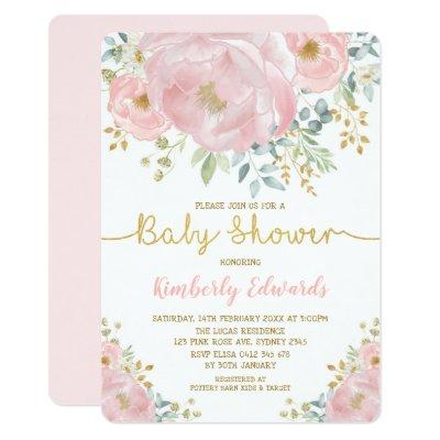 Chic Blush Gold Watercolor Flower Girl Baby Shower Invitation