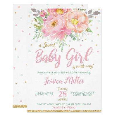 Chic Blush Pink Floral Baby Shower Mint Baby Girl Invitation