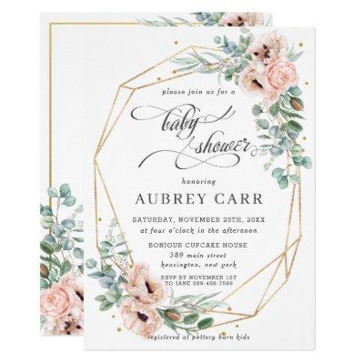 Chic Blush Poppy Floral Baby Shower Geometric Gold Invitation