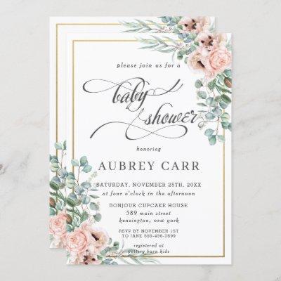 Chic Blush Rose Floral Baby Shower Geometric Gold Invitation