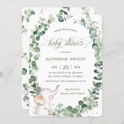 Chic Elephant Greenery Gender Neutral Baby Shower Invitation