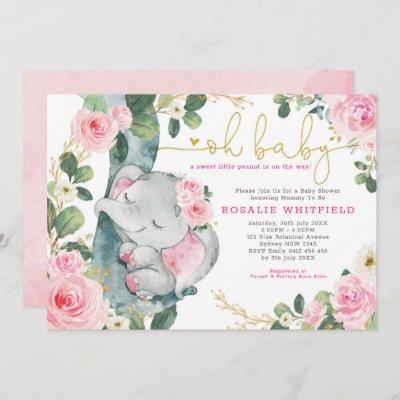 Chic Elephant Pink Roses Greenery Girl Baby Shower Invitation