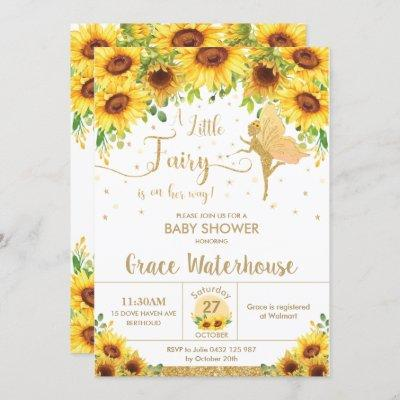 Chic Fairy Sunflower Floral Baby Shower Girl Invitation
