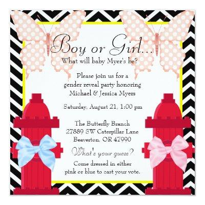 Chic Fire Hydrant & Butterfly Damask Gender Reveal Invitation