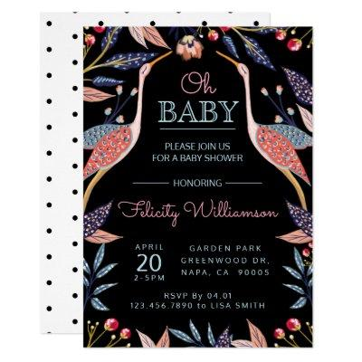 Chic Floral Botanical Stork Baby Shower Invitations
