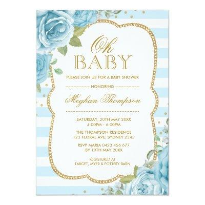 Chic Floral Boy Baby Shower Invitations Blue Gold