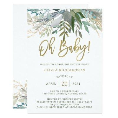 Chic Foliage | Oh Baby Baby Shower and Gold Script Invitation