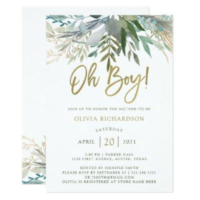 Chic Foliage | Oh Boy Baby Shower and Gold Script Invitations