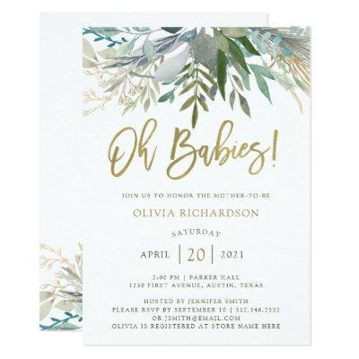 Chic Foliage | Twins Baby Shower and Gold Script Invitation
