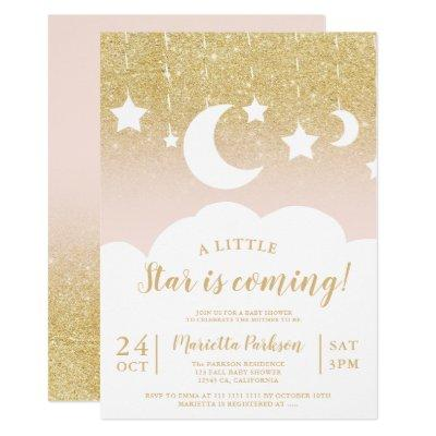 Chic gold glitter star moon cloud baby shower invitation