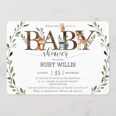 Chic Greenery Woodland Animals Baby Shower Boy Invitation