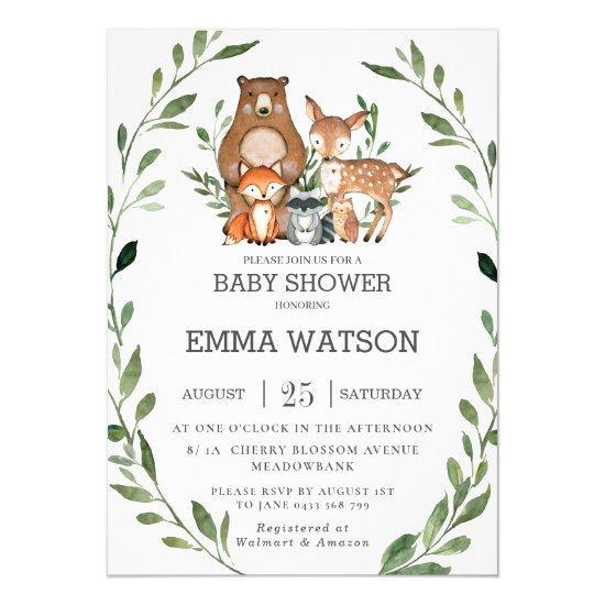 Chic Greenery Woodland Animals Baby Shower Forest Invitation