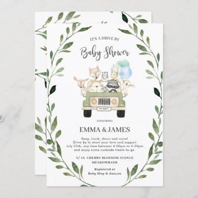 Chic Greenery Woodland Drive By Baby Shower Boy Invitation