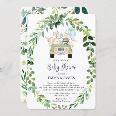 Chic Greenery Woodland Drive By Baby Shower Parade Invitation