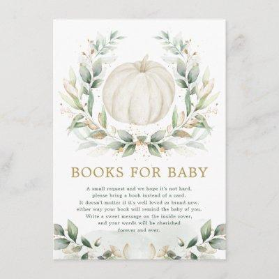 Chic Little Pumpkin Greenery Gold Books for Baby Enclosure Card