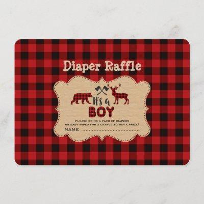 Chic Lumberjack Little Hunter Diaper Raffle Ticket Enclosure Card