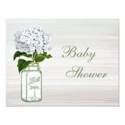 Chic Mason Jar & White Hydrangea Baby Shower Invitation