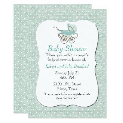 Chic Mint Green Polka Dot Baby Shower Invitation