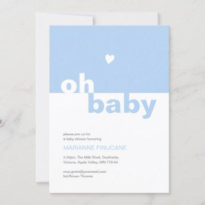 Chic Modern Blue Color Block Oh Baby Shower