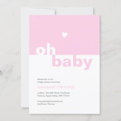 Chic Modern Pink Color Block Oh Baby Shower