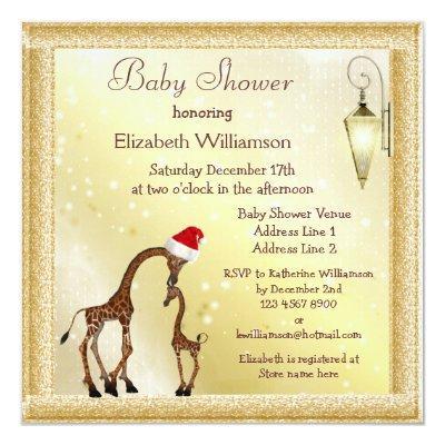 Chic Mom & Baby Giraffe Christmas Invitations