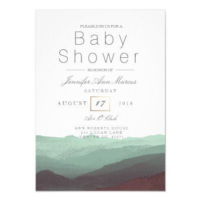 Chic Mountain Watercolor | Pastel Baby Shower Invitation