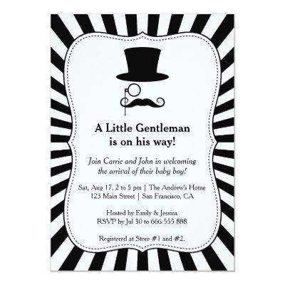 Chic Mustache Gentleman baby boy shower Invitations