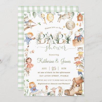 Chic Nursery Rhyme Greenery Baby Shower Neutral Invitation