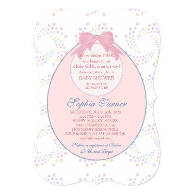 Chic Pink Bib Ribbon Girl BABY SHOWER Invite