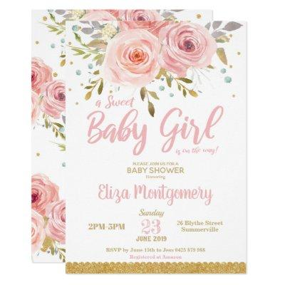 Chic Pink Blush Floral Sweet Baby Shower Girl Invitation