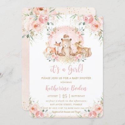 Chic Pink Floral Woodland Animals Girl Baby Shower Invitation