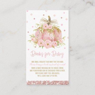 Chic Pink Pumpkin Baby Shower Girl Bring a Book Enclosure Card