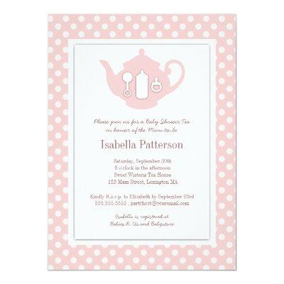 Chic Pink   White Teapot Baby Shower Tea Party Invitations