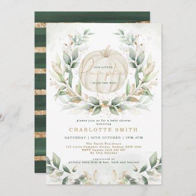 Chic Pumpkin Greenery Gold Fall Wreath Baby Shower Invitation