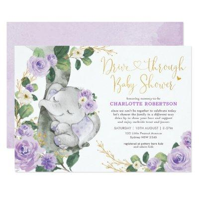 Chic Purple Floral Elephant Drive By Baby Shower Invitation