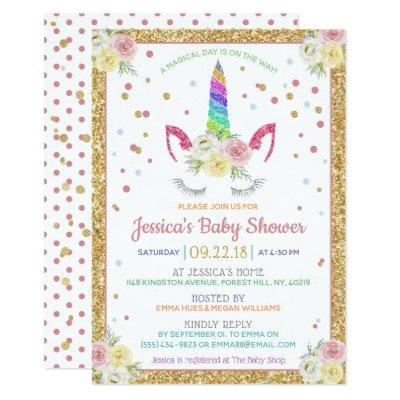 Chic Rainbow Glitter Unicorn Baby Shower Invitations
