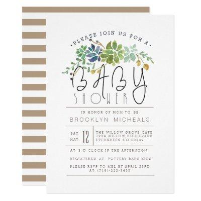 Chic Succulent Garden | Watercolor Baby Shower Invitations
