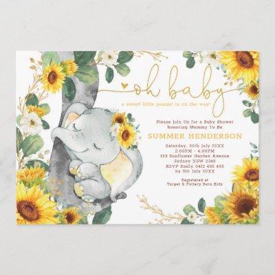 Chic Sunflower Elephant Summer Garden Baby Shower Invitation