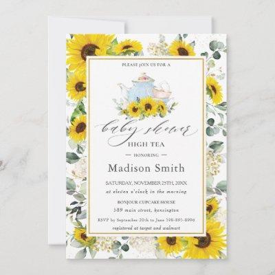 Chic Sunflower Floral High Tea Party Baby Shower Invitation