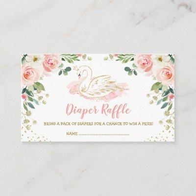 Chic Swan Princess Blush Gold Floral Diaper Raffle Enclosure Card