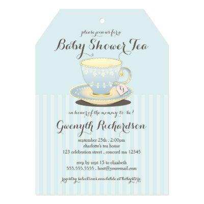 Chic Teacup in Blue Baby Shower Tea Party Invitations