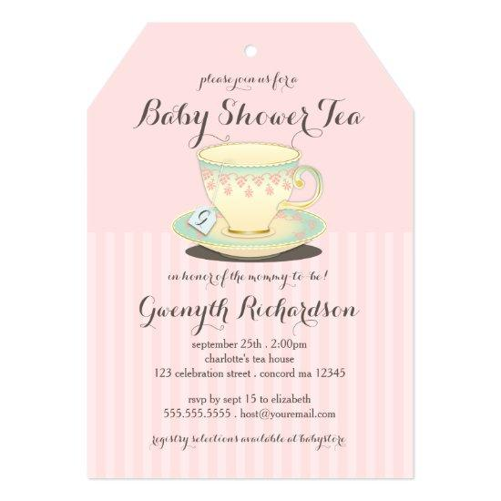 Chic Teacup On Pink Baby Shower Tea Party Invitations
