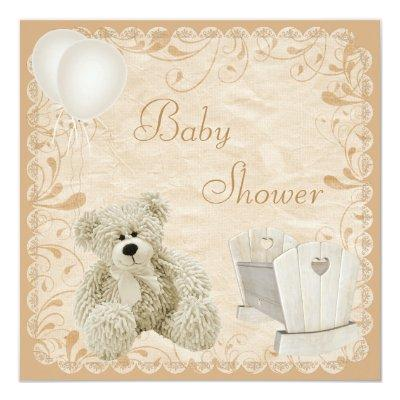 Chic Teddy & Crib Neutral Baby Shower Invitation