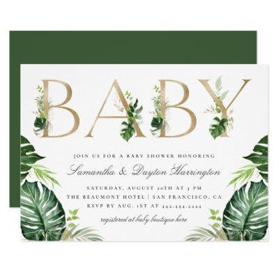 Chic Tropical Greenery Gold Typography Baby Shower Invitation