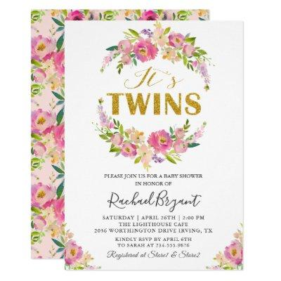 Chic Twins Pink Floral Baby Shower Invitation